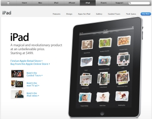 Apple's homepage for the iPad