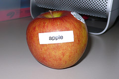 A labeled apple